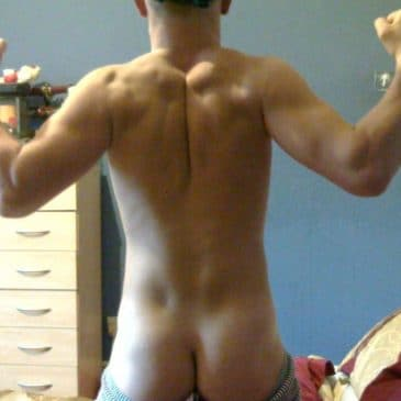 Hunk Guy Naked Showing Muscled Back And Firm Ass
