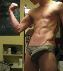 Guy With Visible Hard On Cock In Tight Undies