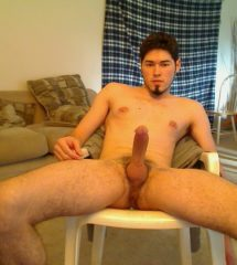 Guy Spread Legs To Show Erected Cock