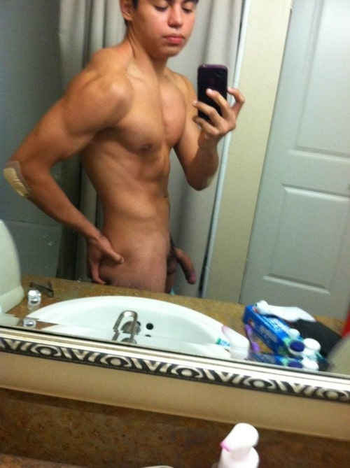 Nude Muscle Boy With A Nice Big Soft Cock