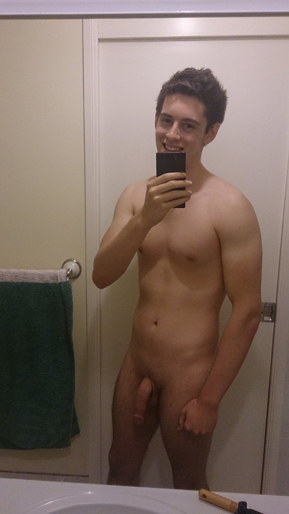 Cute boy taking self